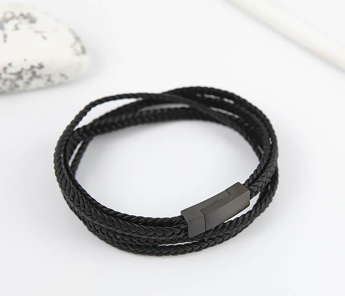 BM523-1 Мужской браслет из кожаного шнура (20 см) фото 02