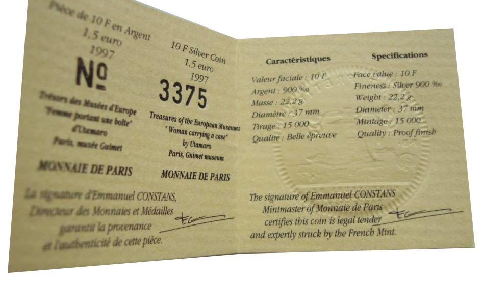 10 франков 1,5 евро. Китайская шкатулка Женский портрет. Франция. 1997 год