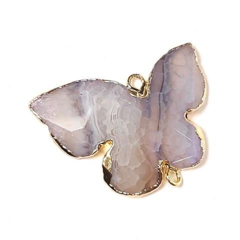 Друза агата Бабочка коннектор в оправе золото