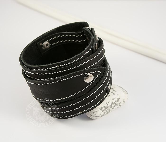 BL425-1 Мужской браслет напульсник из кожи, ручная работа, «Boroda Design»