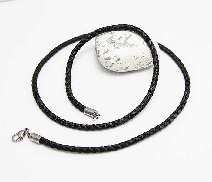 PL276-1 Плетеный шнур черного цвета из текстиля (55 см) фото 03