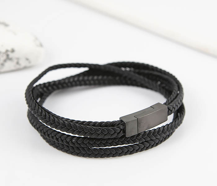 BM523-1 Мужской браслет из кожаного шнура (20 см) фото 03