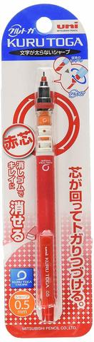 Цветной механический карандаш Uni Kuru Toga - 0,5 мм - красный грифель (блистер)
