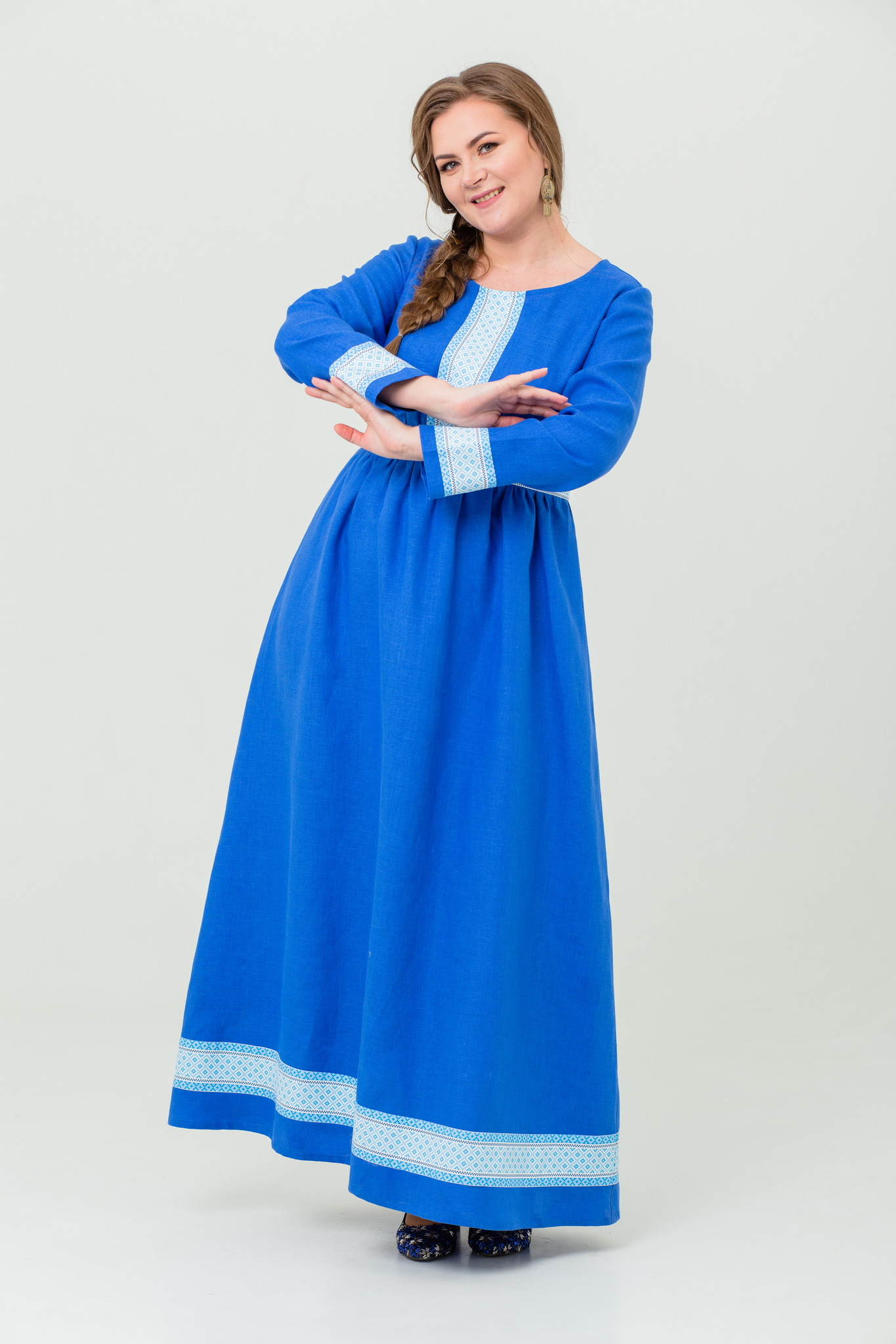 Платье льняное Процветание русское народное