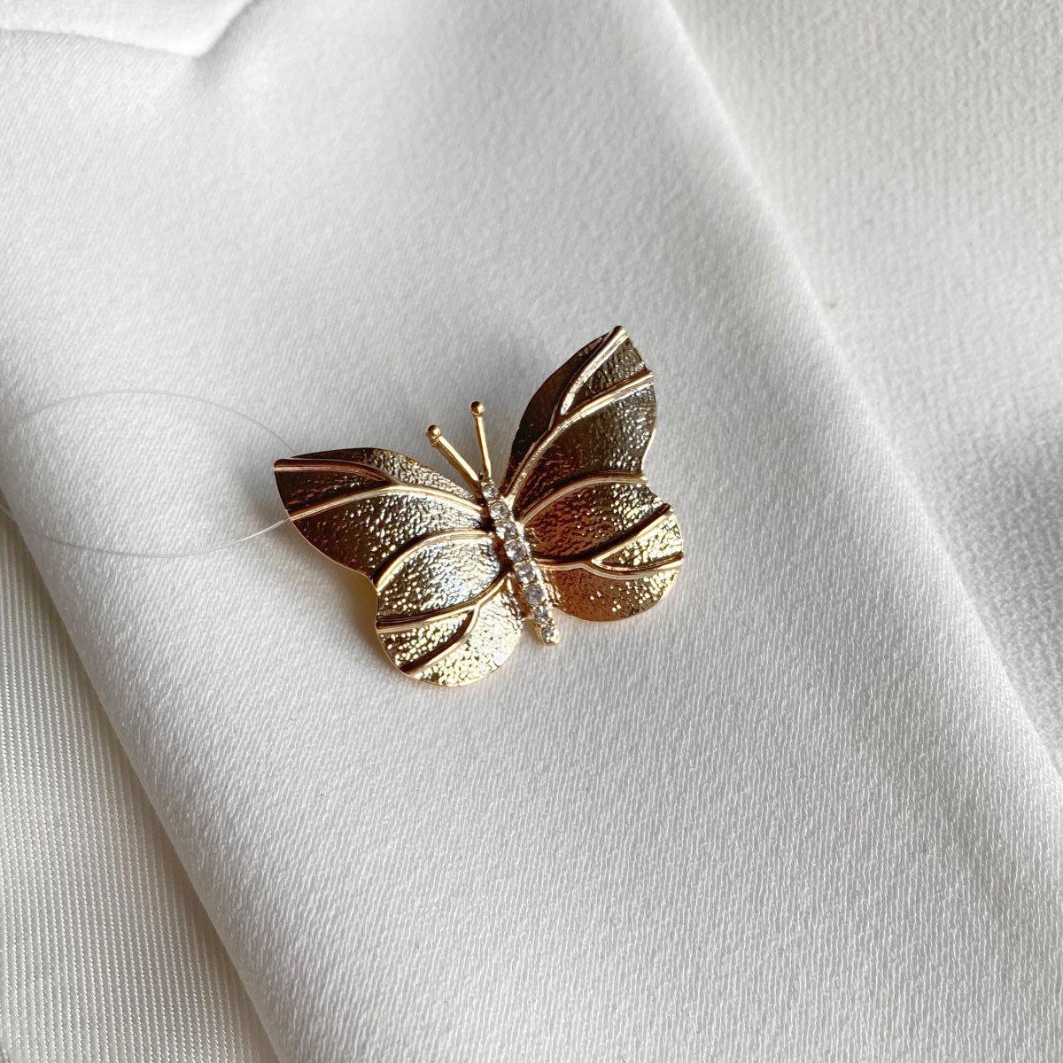 Брошь Бабочка Простая золотой