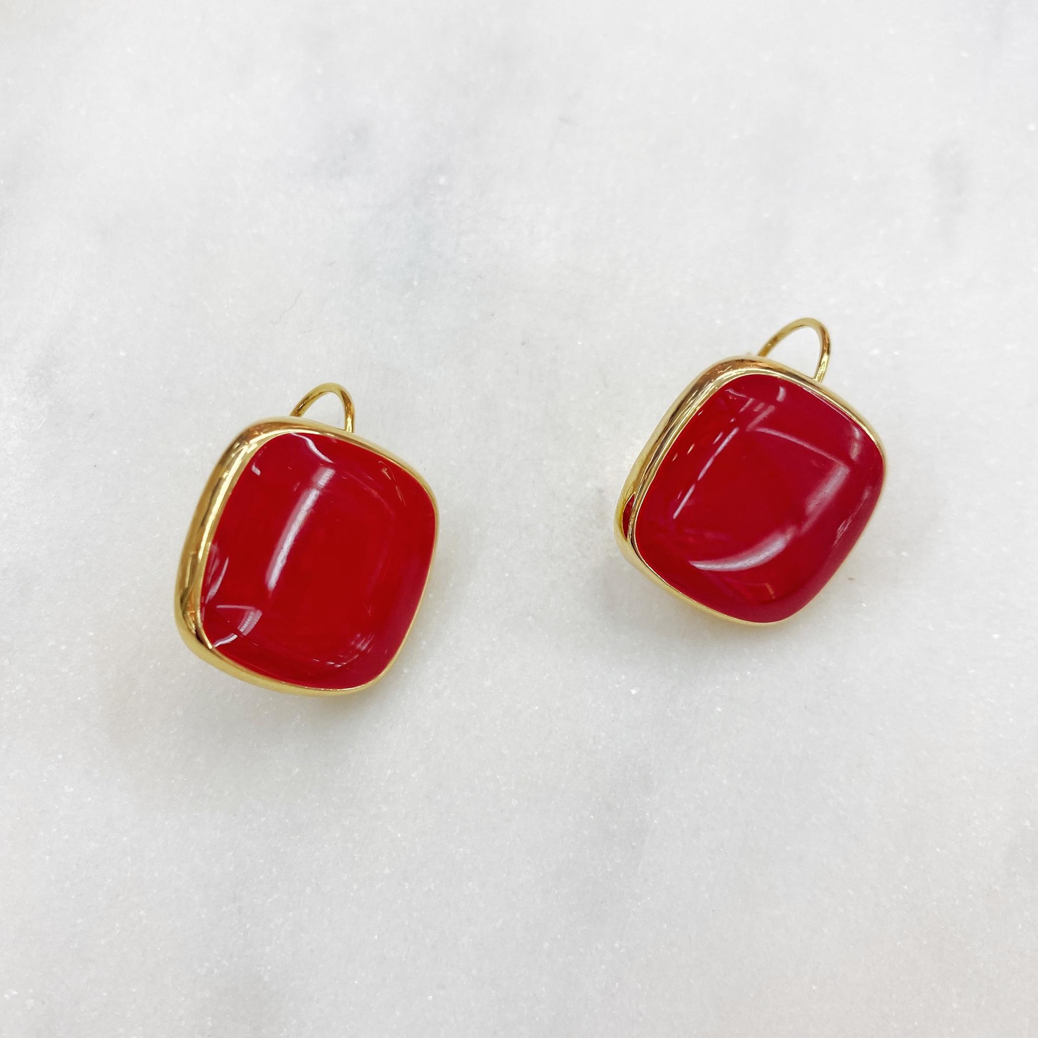 Серьги Квадраты на петлях, эмаль (красный)