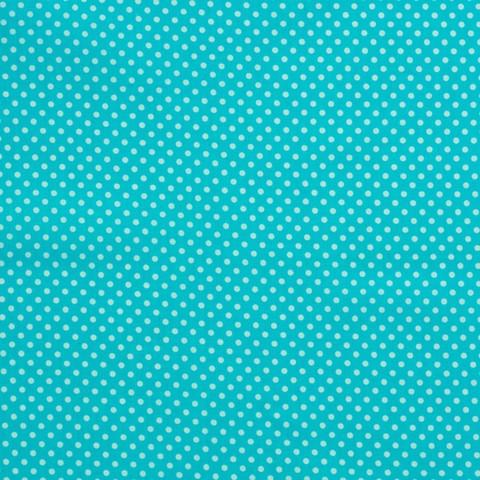 Ткань хлопковая белые горошки на бирюзовом