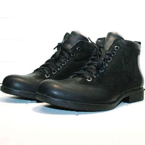 Черные ботинки мужские зимние кожаные. Классические мужские ботинки с мехом LucianoBellini-BLN.