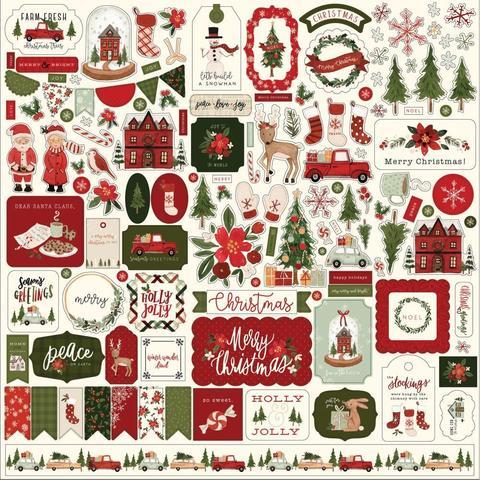Лист стикеров 30*30 см - Hello Christmas Cardstock Stickers -Elements