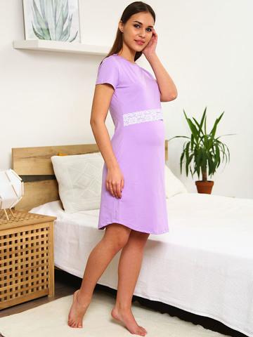 Мамаландия. Сорочка для беременных и кормящих с горизонтальным секретом и кружевом, сиреневый