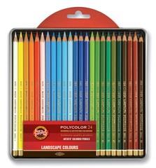 Набор художественных цветных карандашей POLYCOLOR LANDSCAPE 24 цвета в металлической коробке, защищенной блистером