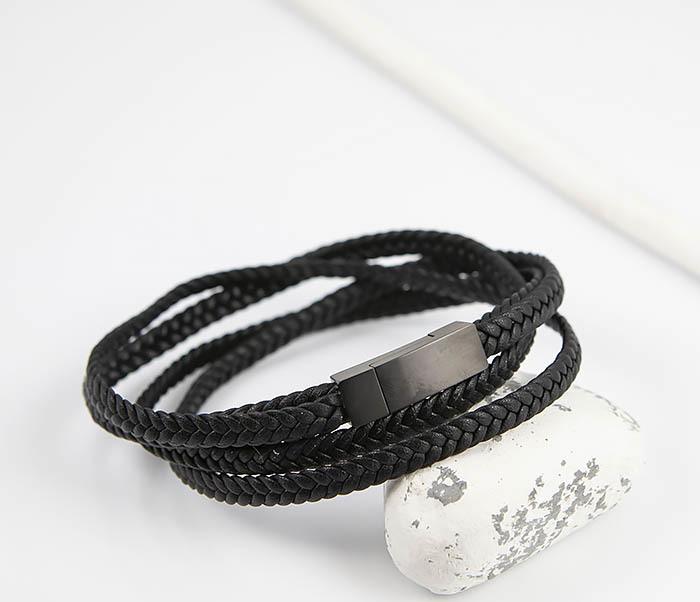 BM523-1 Мужской браслет из кожаного шнура (20 см) фото 04