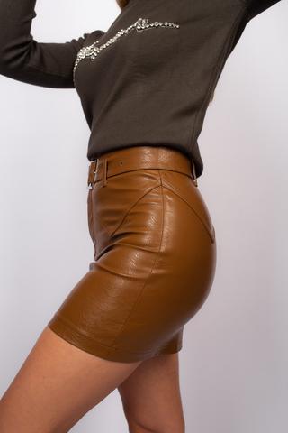 Юбка кожаная коричневая выше колена магазин