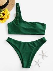 купальник раздельный зеленый на одно плечо 1