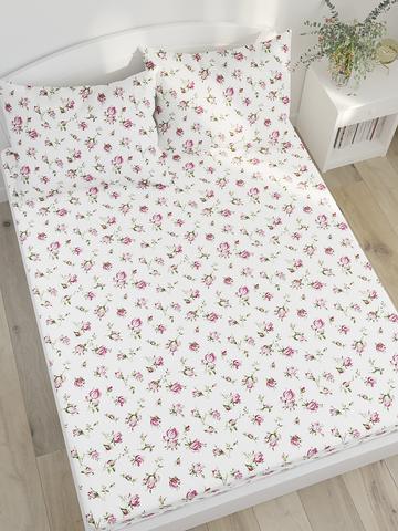 Простынь на резинке  -Розовые бутоны- натяжная 140х200х26 см 2-спальная