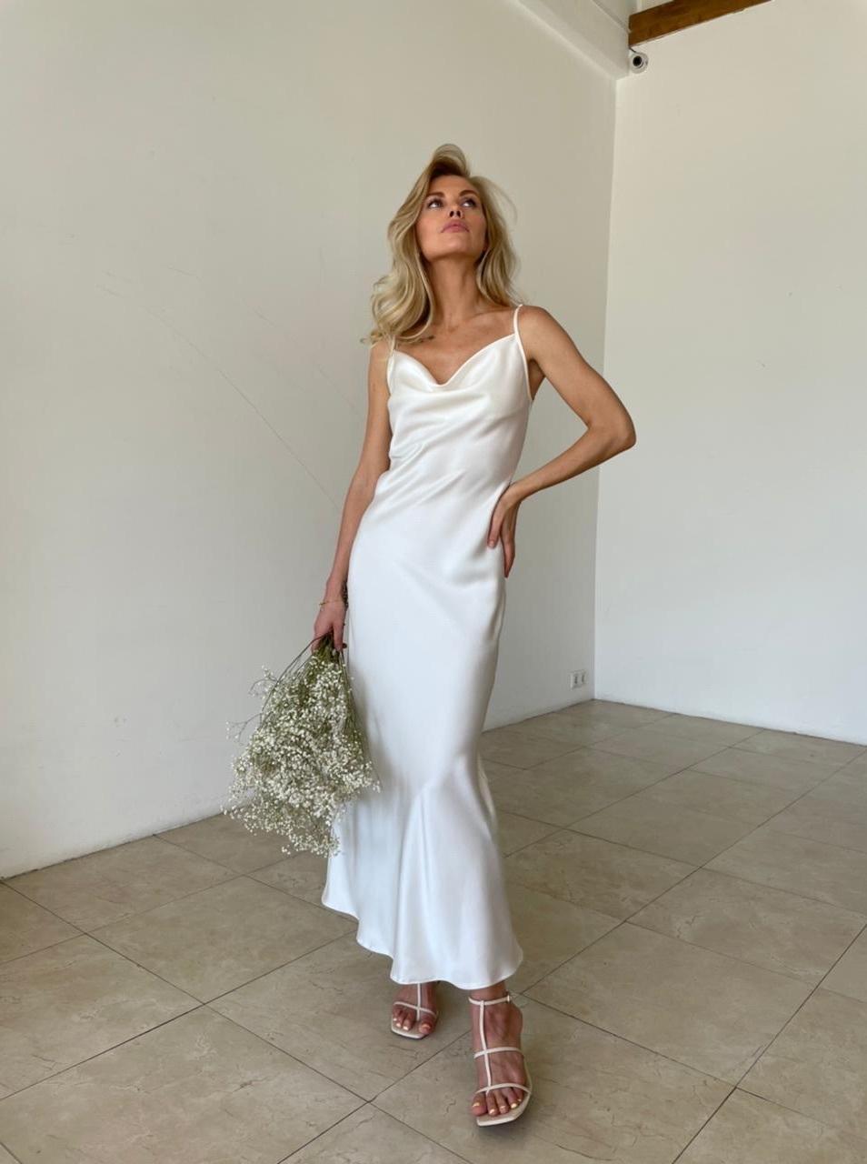 Платье-комбинация из атласа (айвори)