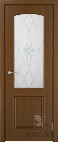 Дверь Крона Порто 2, стекло матовое с рисунком, цвет орех, остекленная