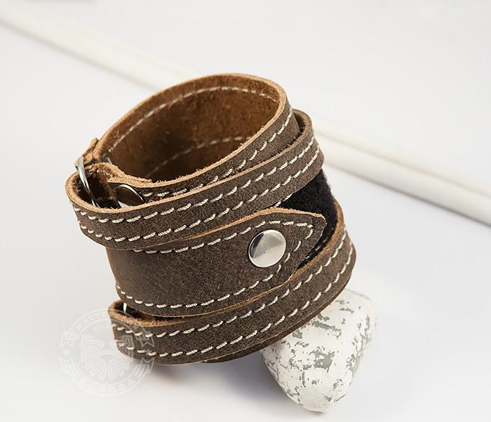 BL425-2 Широкий мужской браслет из кожи, ручная работа,  «Boroda Design»