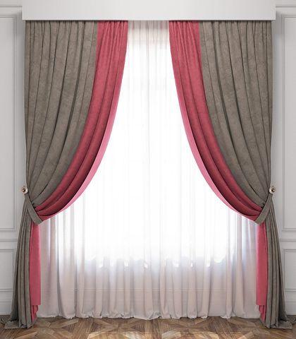 Комплект штор и покрывало Ламанш розово-серый
