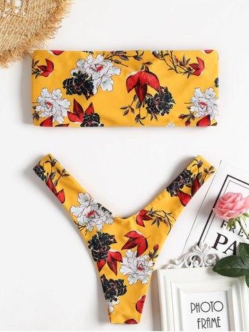 Купальник раздельный бандо жёлтый цветочный танго 3