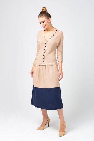 Фото бежевое платье миди с декоративными пуговицами - Платье З316-471 (1)