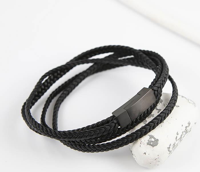 BM523-1 Мужской браслет из кожаного шнура (20 см) фото 05