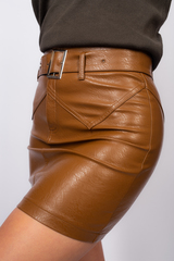 Юбка кожаная коричневая выше колена Nadya