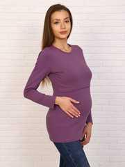 Мамаландия. Лонгслив для беременных и кормящих с горизонтальным секретом, светло-сиреневый