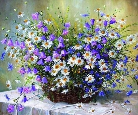 Алмазная Мозаика 40x50 Цветы с поля в корзине (арт. HWA3117 )