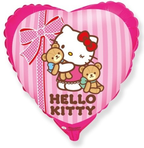 Фольгированный шар сердце Hello Kitty
