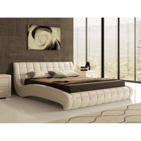 Кровать двуспальная Nuvola 1 (Нувола 1) Экокожа бежевый перламутр