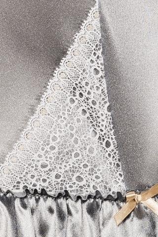 Серебристый корсет с кружевными вставками и трусики HALLA CORSET XXL/XXXL 13627PAS