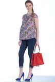 Блузка для беременных 07487 цветы