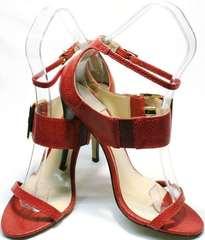 Летние кожаные босоножки сандали женские Via Uno1103-6605 Red.