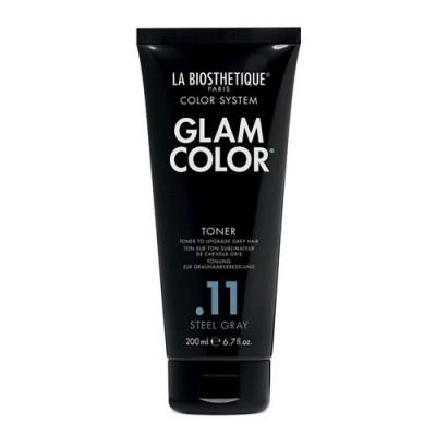 La Biosthetique Glam Color No Yellow Concept: Полуперманентный тонирующий кондиционер для седых волос (Glam Color Toner .11 Steel Gray), 200мл