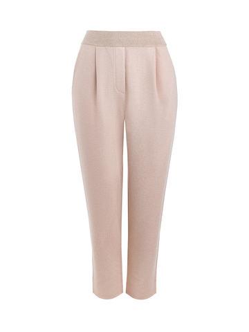 Женские брюки с защипами золотого цвета из вискозы - фото 1