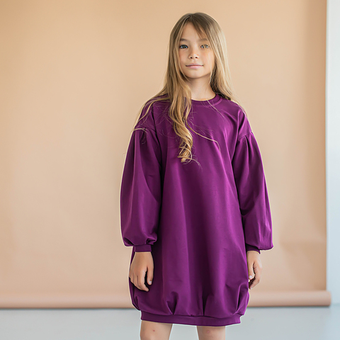 Loose-fitting dress for teens - Plum