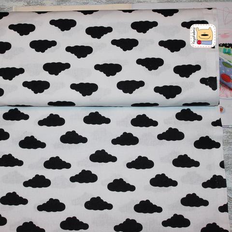 Ткань хлопок Польша П62 Черные облака на белом (80х50см)