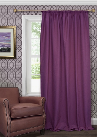 Готовая штора из чистого хлопка с подхватом Адриана фиолетовый