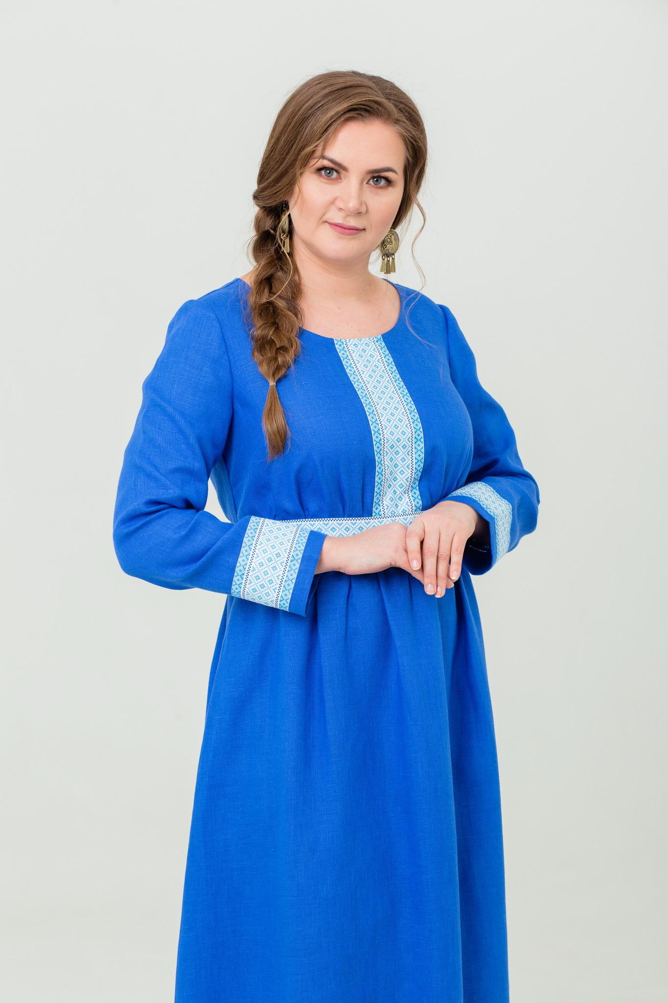 Славянское льняное платье с обережным орнаментом Процветание
