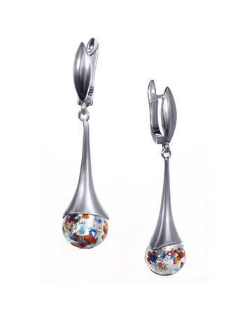 Серьги из муранского стекла серебристые Paola Арлекино цвет ARLS
