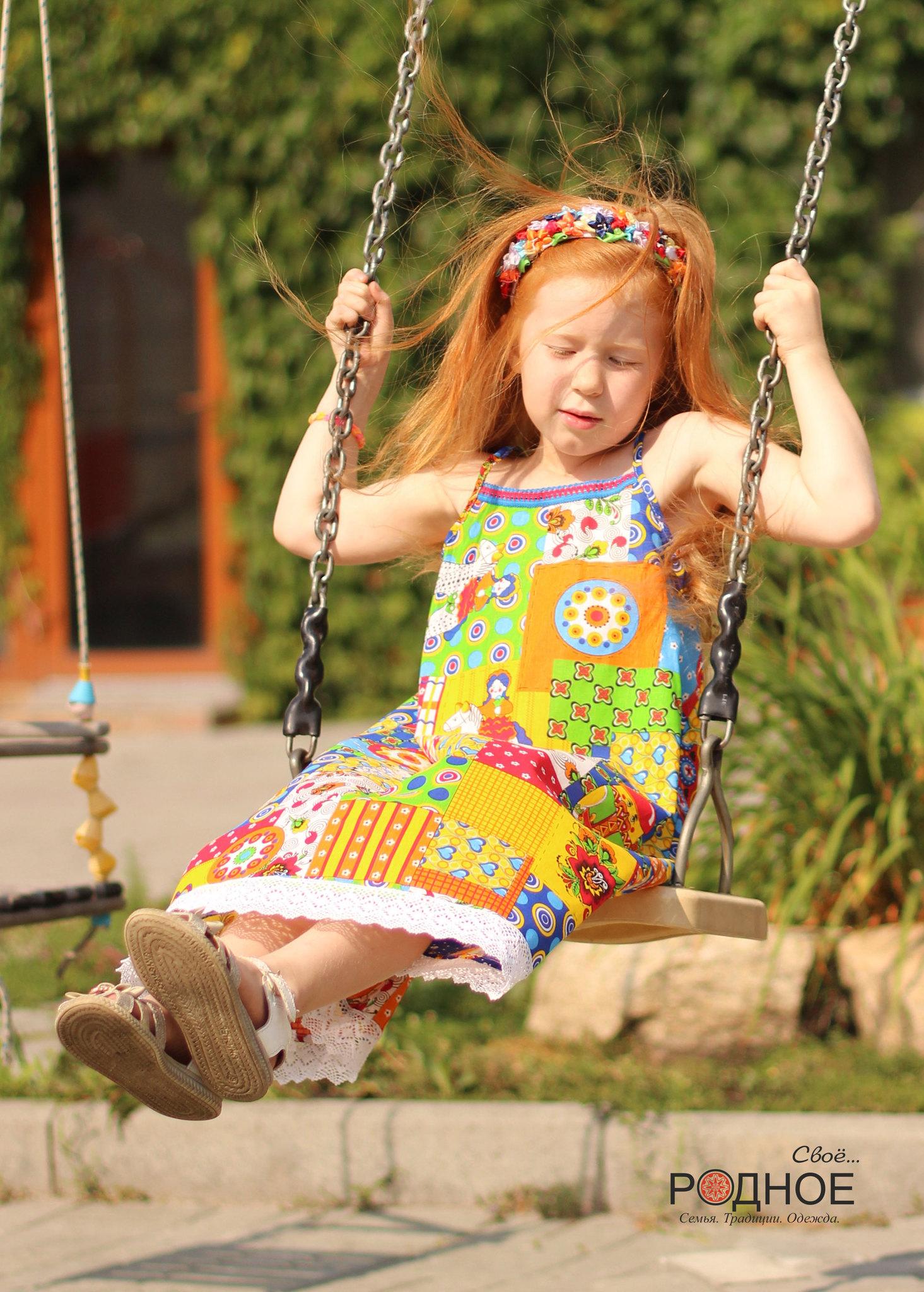 сарафан для девочки в русском стиле с кружевом Свое... Родное для Иванка