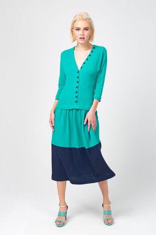 Фото бирюзовое платье из хлопка с v-образной горловиной - Платье З316-472 (1)