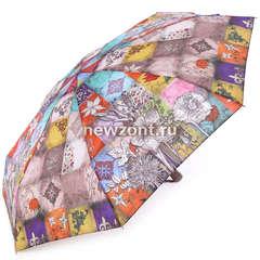 Компактный зонт автомат Lamberti 4 сложения цветы и клетки