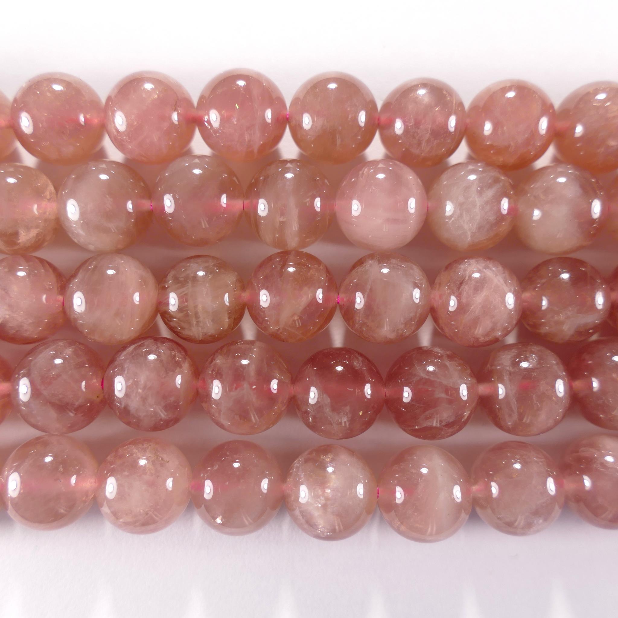 Нить бусин из кварца розового (Мадагаскар), шар гладкий 10мм