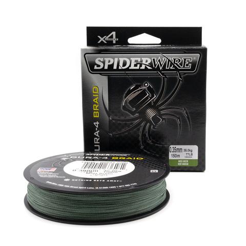 Плетеная леска Spiderwire Dura4 Braid Темно-зеленая 150 м. 0,35 мм. Mgrn