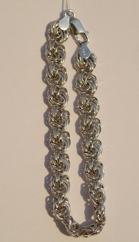 Розочка пустотелая 1,0 (серебряный браслет )