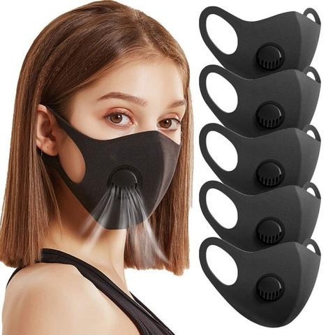 Многоразовая черная маска с  фильтром 1шт.