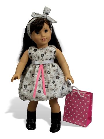 Комплект: Пальто вельвет и платье баллон - На кукле. Одежда для кукол, пупсов и мягких игрушек.