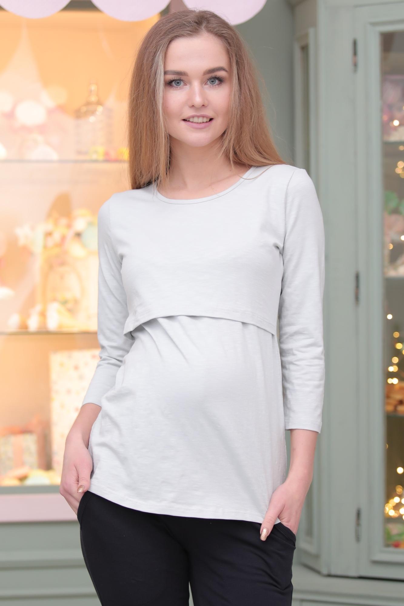 Лонгслив для беременных и кормящих 09907 светло-серый